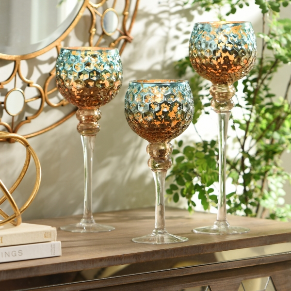 Superb Blue U0026 Brown Mercury Glass Charisma, Set Of 3 · Twisted Candle Holder ...