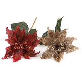 Glistening Poinsettia Stem, 30 in.