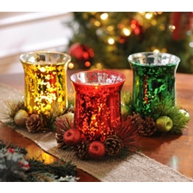 Mercury Glass & Floral Candle Holder