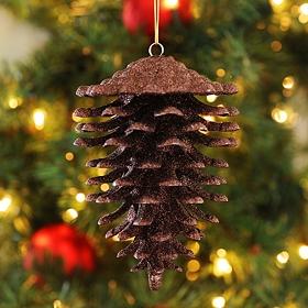 Bronze Glitter Pine Cone Ornament