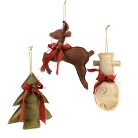 Colorful Burlap Ornaments