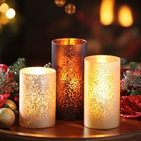 Sparkling Medallion Candle Holder, Set of 3