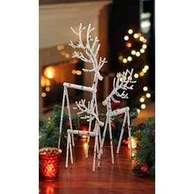 Winter Birch Deer Statues, Set of 3