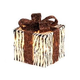 Pre-Lit Zebra Glitz Gift, 6x6