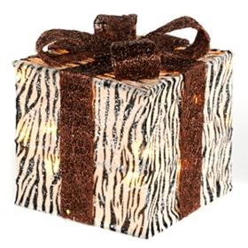 Pre-Lit Zebra Glitz Gift, 10x10
