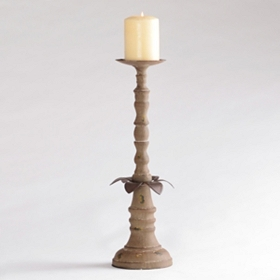 Distressed Brown Iron Candle Holder, 16.5 in.