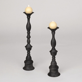 Gunmetal Gray Candle Holder, Set of 2