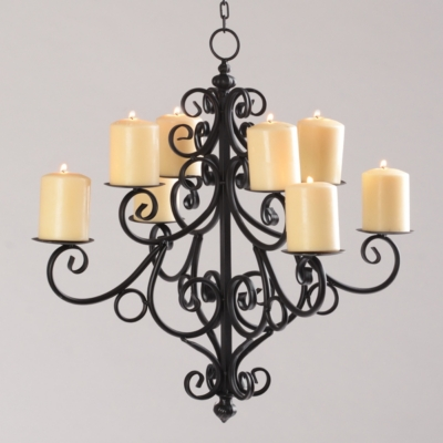 Black Scrolled 8-Candle Chandelier