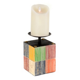 Color Block Candle Holder, 7 in.