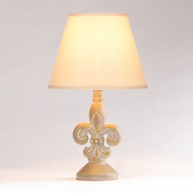 Fleur-de-Lis Washed Gray Table Lamp