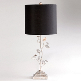 Vintage Flowers Silver Table Lamp