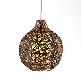 Natural Woven Wicker Ball Pendant Light