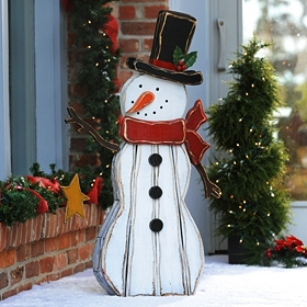 Rustic Wooden Snowman Statue, 41 in.