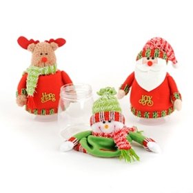 Plush Christmas Candy Jar Toppers