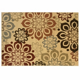 Campbell Beige Flowers Area Rug, 5x7