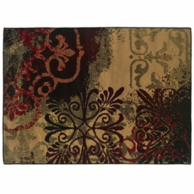 Campbell Red & Brown Medallion Area Rug, 5x7