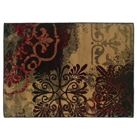 Campbell Red & Brown Medallion Area Rug, 8x10