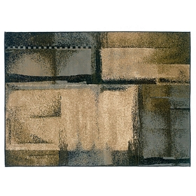 Campbell Beige & Blue Block Area Rug, 5x7