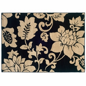Campbell Black & Cream Floral Area Rug, 5x7