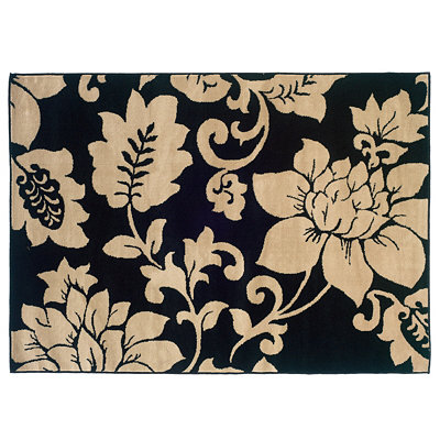 Campbell Black & Cream Floral Area Rug, 8x10