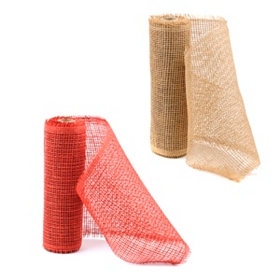 Tan & Red Paper Mesh Ribbon