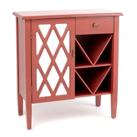 Amelia Mirrored Red Cabinet
