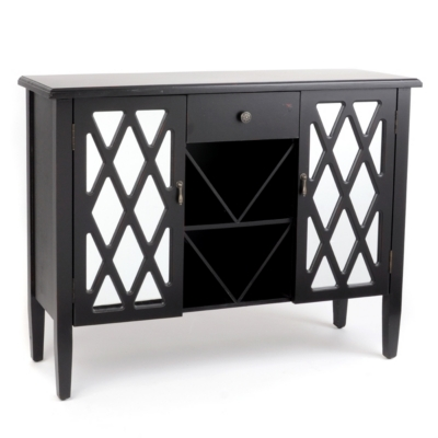 Jacie Mirrored Black Cabinet