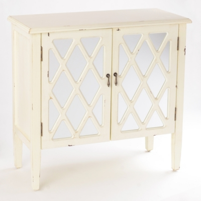 Ellie Mirrored Ivory Cabinet