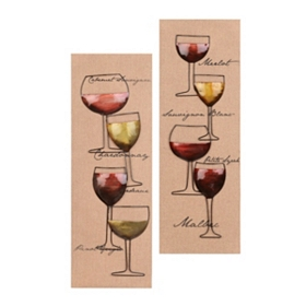 Wine Glass Wall Plaque, Set of 2