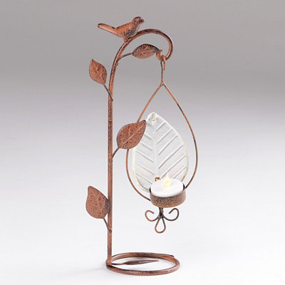 Bird & Branch Antique Bronze Votive Holder
