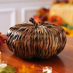 Brown Rattan Pumpkin, 13 in.