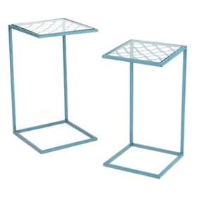 Quatrefoil Blue Slipper Accent Table, Set of 2