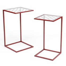 Quatrefoil Red Slipper Accent Table, Set of 2