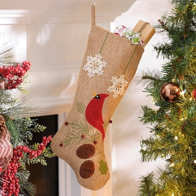 Burlap Cardinal with Pine Cones Christmas Stocking