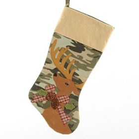 Camouflage Deer with Bow Christmas Stocking