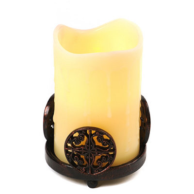 Bronze Medallion Candle Holder