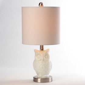 Milk Glass Owl Table Lamp