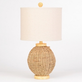 Light Brown Rattan Table Lamp