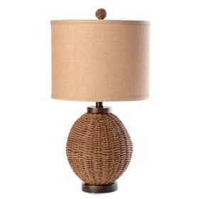 Dark Brown Rattan Table Lamp