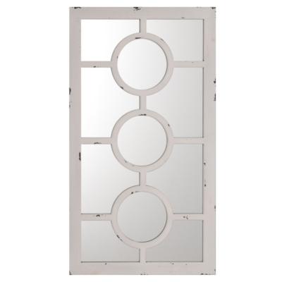 White Geo Floral Mirror, 35x20
