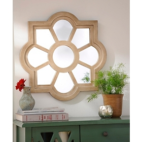 Natural Geo-Floral Wall Mirror, 24x24