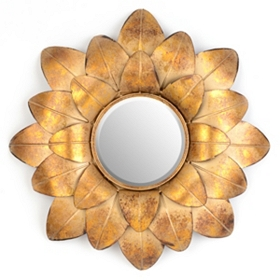 Gold Floral Wall Mirror, 24x24