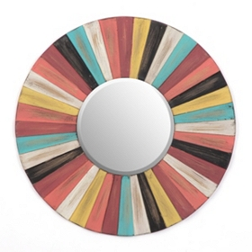 Colorful Round Wood Mirror