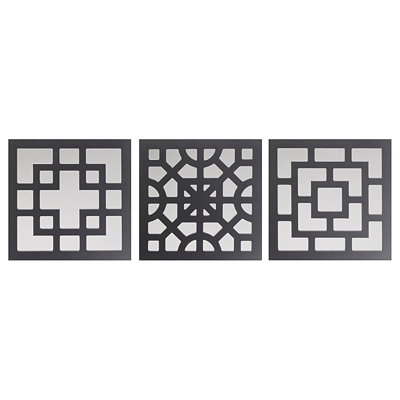 Black Geo Wall Plaque, Set of 3