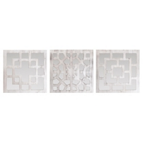 White Geo Wall Plaque, Set of 3