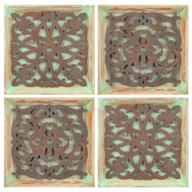Light Green Medallion Wall Plaques, Set of 4