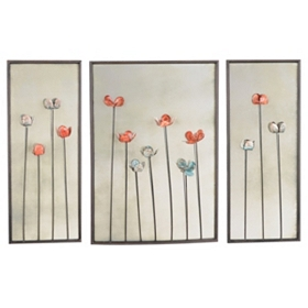 Mirrored Floral Wall Plaques, Set of 3