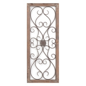 Lexi Scrolled Wood & Metal Wall Plaque