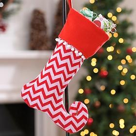 Red & White Chevron Dazzle Stocking
