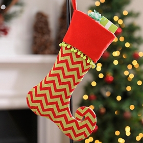 Red & Green Chevron Dazzle Stocking